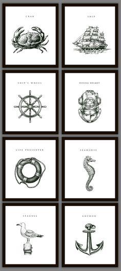 8 Nautical Home Decoration Art Prints. $28.00, via Etsy.