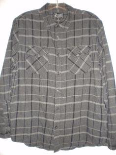 Retrofit Mfg Size Medium Black Charcoal Plaid Long Sleeve Mens Flannel Shirt #Retrofit #ButtonFront