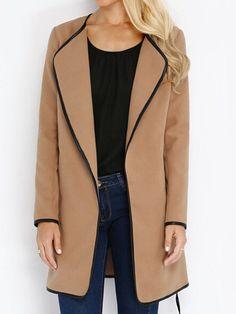 Khaki Long Sleeve Contrast Trims Coat 24.89