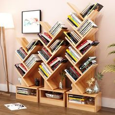 Bookshelf Floor Creative Study Bookcase Tree Shaped Book Rack Furniture Multi-grid Storage Cabinet Abrasion Wooden Display ShelfBrand Name: LEHUOSHIGUANGPlace Of Origin: ChinaSpecific Use: Bookcase. Tree Bookshelf, Creative Bookshelves, Bookcase Wall, Bookshelf Design, Bookcase Storage, Bookcase Decorating, Decorating Ideas, Bookcases, Wall Shelves
