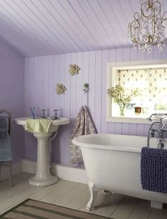 Lavender...sigh...and can you imagine soaking in the big tub?  I sure can.