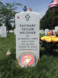 U.S.M.C.,Cpl Zachary Taylor Wegener at Arlington National Cemetery Section 60, Grave 10222. 24th Birthday, June 11, 2014