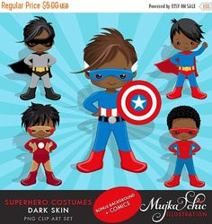 Dark Skin Superhero Costumes Clipart for Boys! This cute African American and Dark Skin superhero set comes with all the wonderful characters dressed up as superheros. Set also includes 4 splash background saved 9×9 as well as comic speech bubbles & comic banners. Perfect for invitations, party printables and embroidery.  Contains 12 high quality Cliparts + 4 JPEG backgrounds Format: 300 DPI transparent PNG files. 300 dpi JPEG files for backgrounds Size: Most cliparts are saved around 6,7…