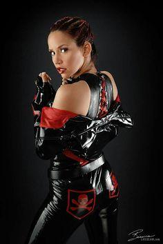 Bianca beauchamp black red latex pants top