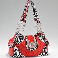 Studded Zebra Print Shoulder Bag w/ Western Theme « Clothing Impulse