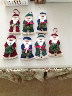Punch needle santas: these look like fun to make!