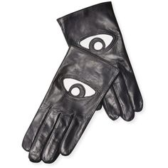 Maison Fabre Women's Eye Leather Gloves - Black, Size 6.5 ($229) ❤ liked on Polyvore featuring accessories, gloves, black, leather gloves, real leather gloves, maison fabre and maison fabre gloves