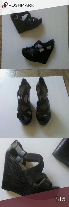 Aldo Black Wedges Extremely comfortable black wedges from Aldo. Aldo Shoes Wedges