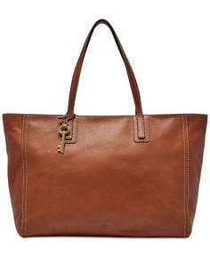 e1b5ab173874 Fossil Emma Large Leather Work Tote Handbags   Accessories - Macy s