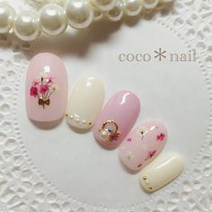 2017 Trending Nail Art | Delicate Pressed Flowers Art With Gold Wire || Perfect for Spring & Summer Look || Combined Pink & White Pastel Nail Colour