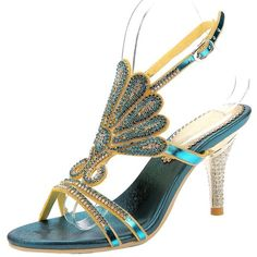 Honeystore Women's Peacock Shaped Pattern Handmade Rhinestone Sandals ($62) ❤ liked on Polyvore featuring shoes, sandals, peacock shoes, blue sandals, peacock feather sandals, print shoes and peacock print shoes