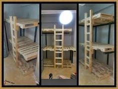 This 3 bunk beds can help you solving any lack of space you may have in one of your house Pallet Bunk Beds, 3 Bunk Beds, Bunk Bed Rooms, Triple Bunk Beds, Pallette Furniture, Diy Pallet Furniture, Diy Bunkbeds, Beds For Small Spaces, Wooden Pallet Crafts