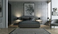 Striking Bedrooms That Use Concrete Finish - Download