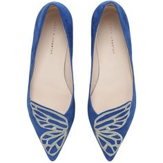 Sophia Webster Women 10mm Bibi Butterfly Suede Flats ($445) ❤ liked on Polyvore featuring shoes, flats, royal blue, embroidered flats, butterfly shoes, pointed toe flats, pointed toe shoes and suede shoes