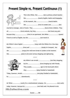 No-frills worksheet for all ages: Present Simple vs. Present Continuous (1):