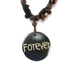 Forever Inspirational Wood Pendant on Tribal Beaded Cord Necklace Creative Ventures Jewelry. $6.99. Triple Cord Necklace. Wood and Silver Bead Accents. Circular Wooden Pendant. Sentiment: Forever