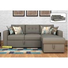 Buy Alfonso Right Arm Convertible Sofa Cum Bed (Fabric, Grey) Online in India - Wooden Street
