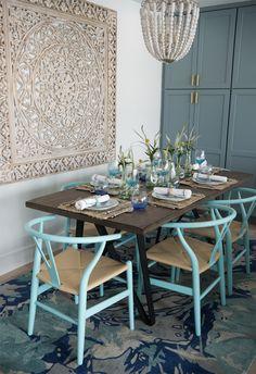 turquoise coastal dining room