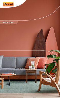 A cor #TerraRoxa é a cor #Tendência2018 da Suvinil . Tons aconchegantes como esse, além de trazer conforto, levam também a paz da natureza para seu lar! Que tal apostar em cores terrosas para um toque mais íntimo ao seu cantinho?