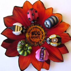Bug Magnets on an Orange Flower Polymer Clay Magnets by Claybykim