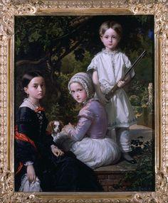 1845 Federico de Madrazo y Kuntz - Luisa, Rosa and Raimundo de Madrazo Garreta, children of the artist