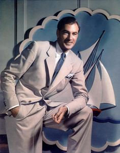 Gary Cooper movie star photo print ad late 40s era men's fashion summer suit light grey white blue tie shirt vintage style