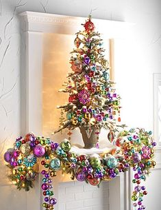 colorful christmas tree Easy DIY Christmas Mantel Decor Ideas for Your Fireplace Diy Christmas Mantel, Noel Christmas, Pink Christmas, Beautiful Christmas, Winter Christmas, Christmas Wreaths, Christmas Crafts, Christmas Movies, Christmas 2019