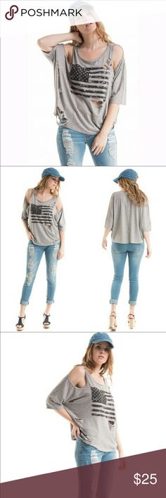American Flag distressed tshirt CUTE soft Super cute and ultra soft distressed tshirt with American flag graphic in front. Show American pride and still have a fashion trend edge. Shades of greys and blacks.  Made in USA 🇺🇸 95 poly 5 spandex Fashionomics Tops Tees - Short Sleeve