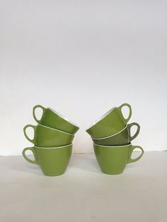 Vintage Set of Six Avocado Green Plastic Mugs  by OneDecember, 14.00