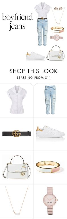 """""""Untitled #2253"""" by nadia-n-pow on Polyvore featuring H&M, Gucci, adidas, Michael Kors, Old Navy, Kendra Scott, Nine West, Trilogy and boyfriendjeans"""