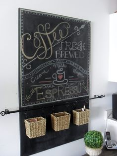 Home Frosting: Canvas Chalkboard and Seagrass Basket Organizer, made using a cafe curtain rod and curtain rings.