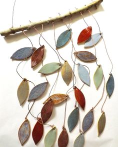 Stoneware Ceramic Leaf Chimes . . . First graders made 3 clay leaves next year instead of one and do this?