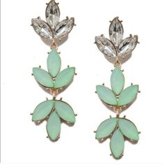 T&J Mint Ivy drop earrings These are brand new retail items beautiful mint green and gold tone. For pierced ears T&J Designs Jewelry Earrings