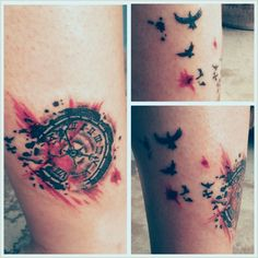 Clock and birds Tattoo. Trash Polka style. Venezuela +++ Vincent Tattoo +++