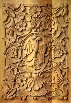 Sculpture art bulgare traditionnel du bois, panneau rectangulaire 3, en STOCK…