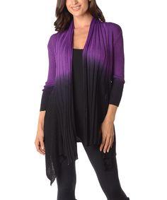 Diva Designs Purple & Black Color Block Open Cardigan - Plus by Diva Designs #zulily #zulilyfinds