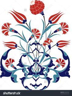 Traditional ottoman turkey turkish tulip tile design by Murat Cokeker, via ShutterStock Turkish Tiles, Turkish Art, Portuguese Tiles, Moroccan Tiles, Turkish Pattern, Illustrator, Turkish Design, Ceramic Design, Tile Design