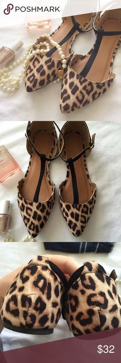Charlotte Russe leopard print t-strap flats These classic flats are gorgeous! Leopard print and black design with heel strap and T-design make these both pretty and practical (such an important combo!!). Gently used, but very minimal wear. Charlotte Russe Shoes Flats & Loafers
