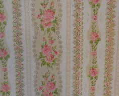 Have this paper in an upstairs bathroom, only in blue. Vintage Wallpaper Pink Roses, Tan Green White Stripes 1940s - 1 Yard