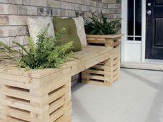 Check out these 15 DIY Backyard Furniture and Lighting Ideas. Backyard Furniture, Pallet Furniture, Outdoor Furniture Sets, Porch Furniture, Diy Planters Outdoor, Outdoor Garden Bench, Sofa Area Externa, Diy Para A Casa, Cedar Bench