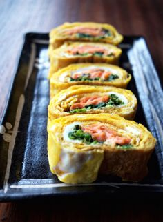 Smoked Salmon and Spinach- Filled Tamagoyaki. One of my favorite breakfasts! ! Fry up in 4 minutes.