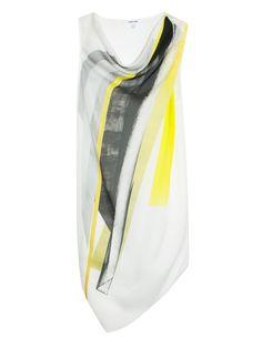 Helmut Lang - Tilt Print Shoulder Silk Top