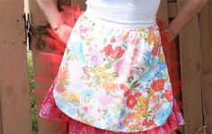 Vintage bed sheet repurposed into an apron.