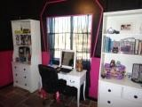 Monster High inspired pre-teen bedroom with black and pink walls and white furniture for contrast: We based our room on the Monster High doll collection.  Starting with our colors, black and hot pink.    We wanted a little glam, but a little funky.