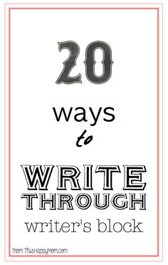 Writing Prompts for Writer's Block. Every writer faces it from time to time, so here are 20 ideas to get your writing again in a jiffy. #20 is my favorite.