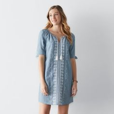 Women's+SONOMA+Goods+for+Life+Embroidered+Chambray+Shift+Dress
