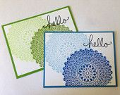Hello Card - Doily Card - Hello Card Set - Just Because Card - Fun Thinking of You Card - Blue Hello Card - Green Hello Card Set of 2