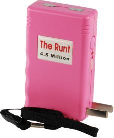 The RUNT Rechargeable Stun Gun, $69.95 comes with Free Holster. It's easily concealable, and virtually undetectable in the hand of a woman or a man. There are two levels that you can pick your attacker's poison. Heavy duty nylon belt loop holster included if you wish to wear as a pager. Batteries are included and comes with Lifetime Warranty.
