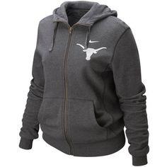 Nike Texas Longhorns Women's Charcoal Bling Full Zip Hoodie Sweatshirt ($32) ❤ liked on Polyvore featuring tops, hoodies, charcoal, full zip hooded sweatshirt, sweatshirts hoodies, hooded sweat shirt, full zip hoodies y pullover hooded sweatshirt