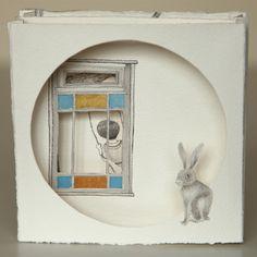 Thais Beltrame / Se Um Dia te Soltei a Mão / Nanquim e aquarela sobre assemblage de papel - 2013 - 14 x 14 cm